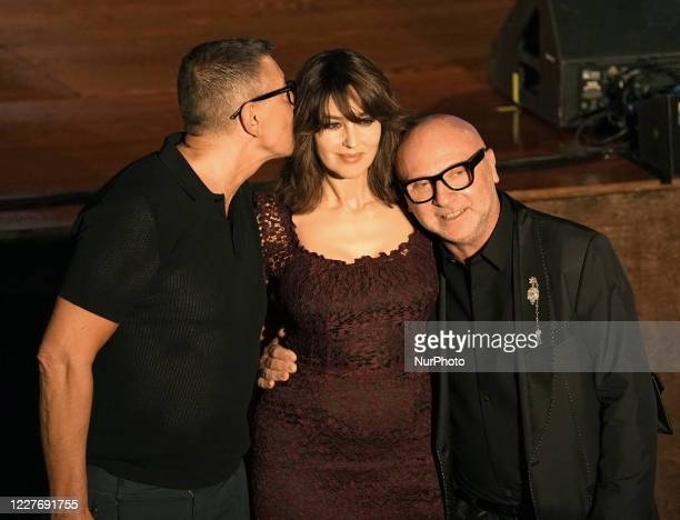 Domenico Dolce Stefano Gabbana and Monica Bellucci attend the ceremony in memory of Ennio Morricone in the suggestive ancient theater of Taormina...
