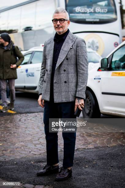 Domenico Gianfrate is seen during the 93 Pitti Immagine Uomo at Fortezza Da Basso on January 11 2018 in Florence Italy