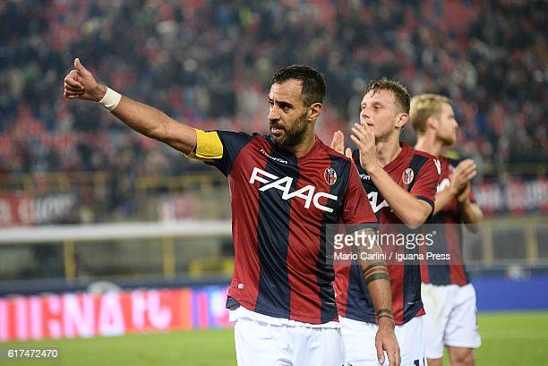 Domenico Maietta of Bologna FC salutes the supporters at the end of the Serie A match between Bologna FC and US Sassuolo at Stadio Renato Dall'Ara on...