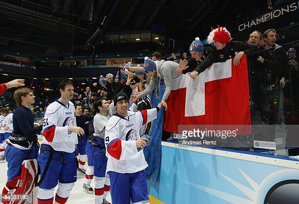 Domenico Pittis of Lions Zurich celebrates after the IIHF Champions Hockey League 2nd semi-final match between Espoo Blues and ZSC Lions Zurich at...