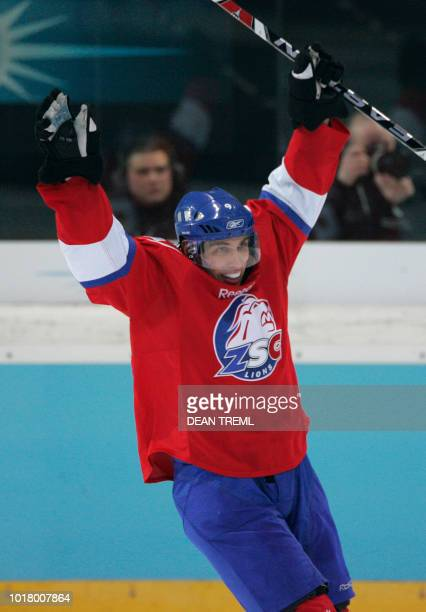 Domenico Pittis of the Lions celebrates the goal of Blain Down during the Champions Hockey League Final 2 between Russian club Metallurg Magnitogorsk...