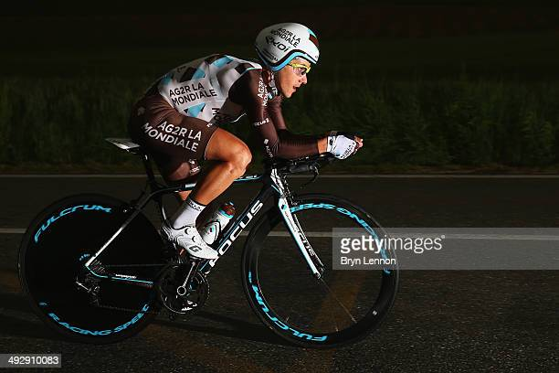 Domenico Pozzovivo of Italy and AG2R La Mondiale in action during the twelfth stage of the 2014 Giro d'Italia a 42km Individual Time Trial stage...