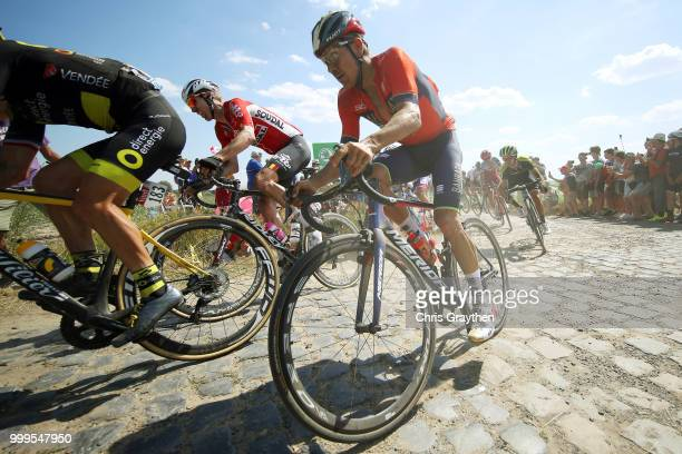 Domenico Pozzovivo of Italy and Bahrain Merida Pro Team / Marcel Sieberg of Germany and Team Lotto Soudal / Adam Yates of Great Britain and Team...