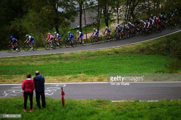 Domenico Pozzovivo of Italy and NTT Pro Cycling Team / Davide Ballerini of Italy and Team Deceuninck - Quick-Step / Joao Almeida of Portugal and Team...