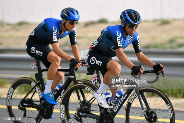 Domenico Pozzovivo of Italy and NTT Pro Cycling Team / Michael Carbel of Denmark and NTT Pro Cycling Team / during the 6th UAE Tour 2020 Stage 4 a...