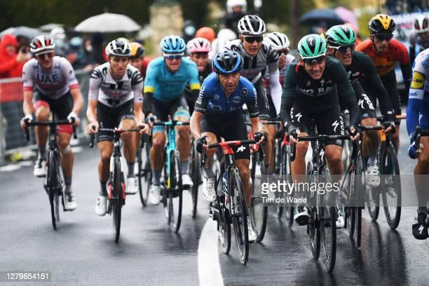 Domenico Pozzovivo of Italy and NTT Pro Cycling Team / Patrick Konrad of Austria and Team Bora - Hansgrohe / Rafal Majka of Poland and Team Bora -...