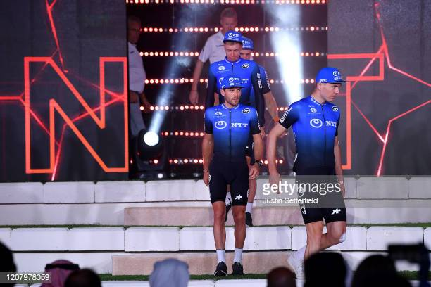 Domenico Pozzovivo of Italy and NTT Pro Cycling Team / Victor Campenaerts of Belgium and NTT Pro Cycling Team / Michael Carbel of Denmark and NTT Pro...