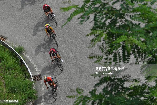 Domenico Pozzovivo of Italy and Team Bahrain Merida / Jonathan Castroviejo of Spain and Team INEOS / Egan Arley Bernal of Colombia and Team INEOS...