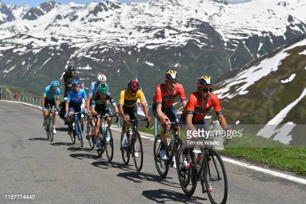 Domenico Pozzovivo of Italy and Team Bahrain Merida / Rohan Dennis of Australia and Team Bahrain Merida / Egan Arley Bernal of Colombia and Team...