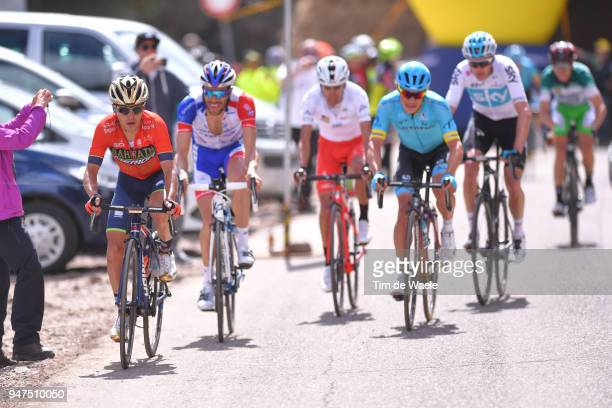 Domenico Pozzovivo of Italy and Team Bahrain Merida / Thibaut Pinot of France and Team Groupama FDJ / Miguel Angel Lopez of Colombia and Astana Pro...