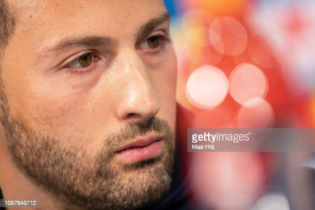 Domenico Tedesco, Head Coach of FC Schalke 04 looks on during the Press Conference prior to the Group D match of the UEFA Champions League between FC...