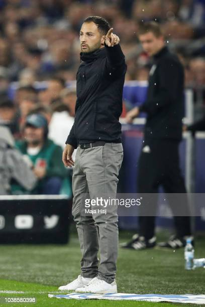 Domenico Tedesco Head Coach of FC Schalke 04 reacts during the Bundesliga match between FC Schalke 04 and FC Bayern Muenchen at VeltinsArena on...