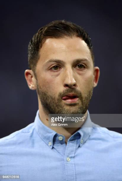 Domenico Tedesco head coach of Schalke looks on before the Bundesliga match between FC Schalke 04 and Eintracht Frankfurt at VeltinsArena on April 18...