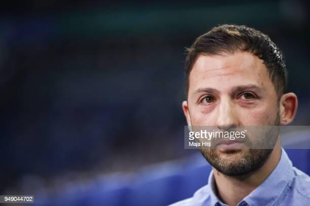 Domenico Tedesco head coach of Schalke looks on prior the Bundesliga match between FC Schalke 04 and Eintracht Frankfurt at VeltinsArena on April 18...