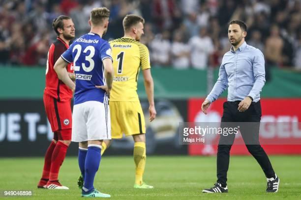 Domenico Tedesco head coach of Schalke react after the Bundesliga match between FC Schalke 04 and Eintracht Frankfurt at VeltinsArena on April 18...