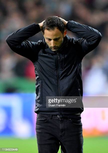 Domenico Tedesco, head coach of Schalke reacts during the Bundesliga match between SV Werder Bremen and FC Schalke 04 at Weserstadion on March 08,...