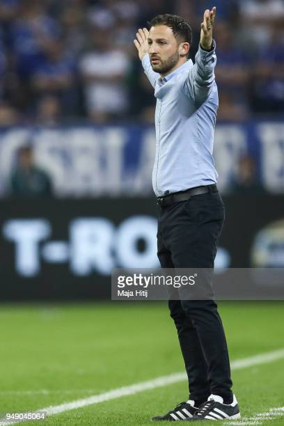 Domenico Tedesco head coach of Schalke reacts during the Bundesliga match between FC Schalke 04 and Eintracht Frankfurt at VeltinsArena on April 18...