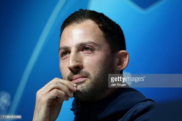 Domenico Tedesco, Manager of FC Schalke 04 looks on during a press conference ahead of their UEFA Champions League Round of 16 second leg match...