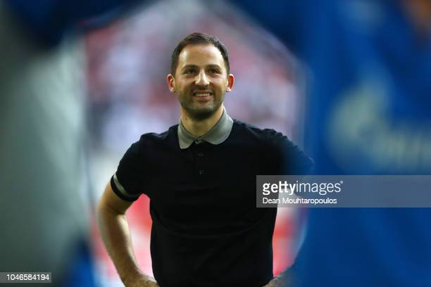 Domenico Tedesco, Manager of FC Schalke 04 looks on following his sides victory in the Bundesliga match between Fortuna Duesseldorf and FC Schalke 04...