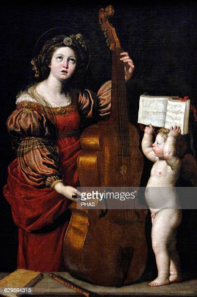 Domenico Zampieri Baroque painter Bolognese School Saint Cecilia with an Angel 161718 Museum of Louvre Paris France