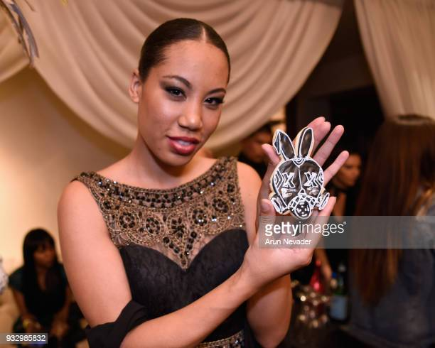 Domenique Symone attends Los Angeles Fashion Week Powered by Art Hearts Fashion LAFW FW/18 10th Season Anniversary Backstage and Front Row Day 5 at...