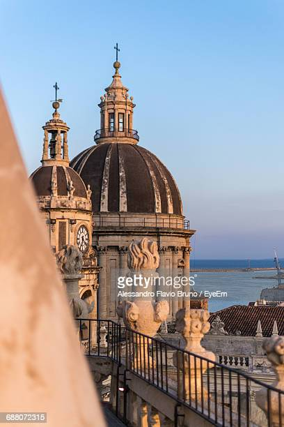 domes of metropolitan cathedral of saint agatha - catania stock photos and pictures