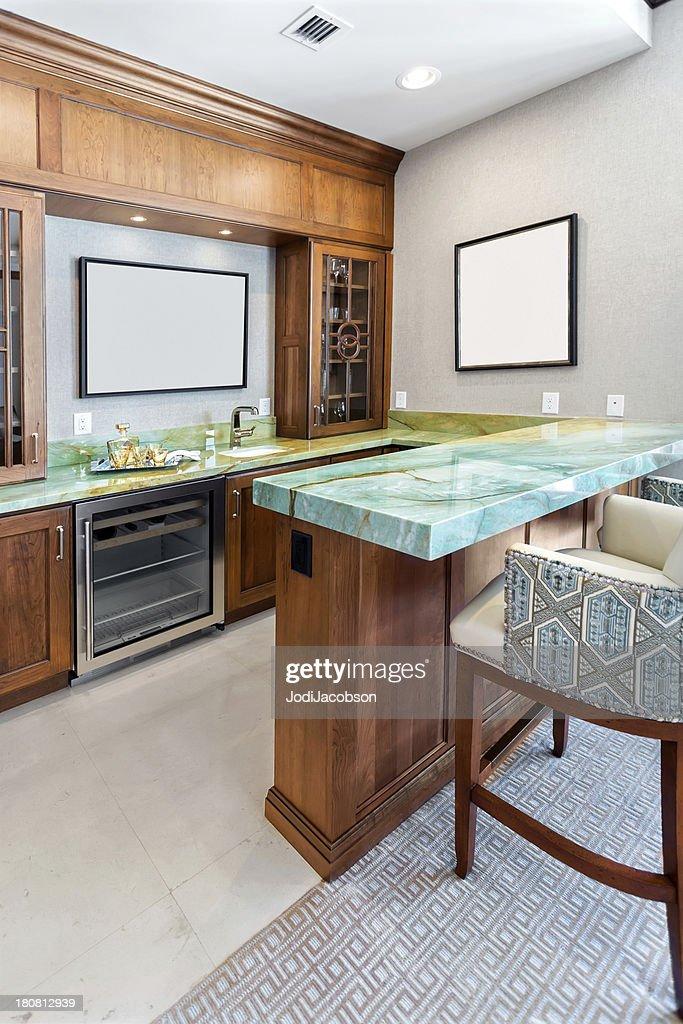Domestic Bar In A Home Interior Stock Photo