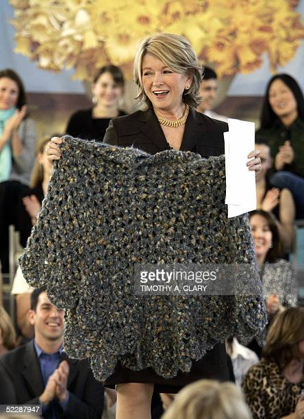 US domestic diva Martha Stewart shows off the poncho she wore as she left prison that has been getting so much attention from fans as she addresses...