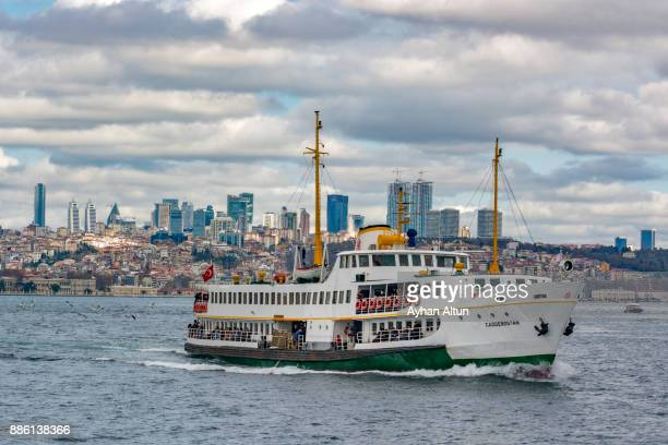 Domestic ferry crossing The Bosphorus strait ,Istanbul,Turkey