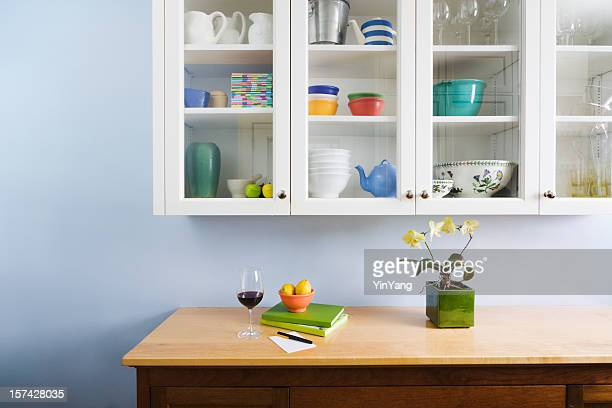 domestic kitchen counter top and cabinet display of neat organization - neat stock pictures, royalty-free photos & images