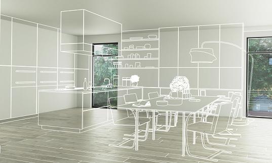 Domestic Kitchen Design (conception) - 3d illustration 1129566836
