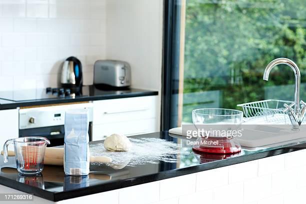 Domestic kitchen during bread preparation