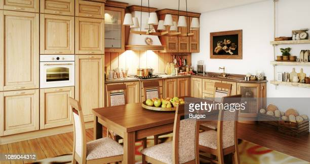 domestic kitchen interior - rustic stock pictures, royalty-free photos & images