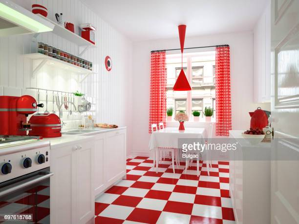domestic kitchen interior - checked pattern stock pictures, royalty-free photos & images