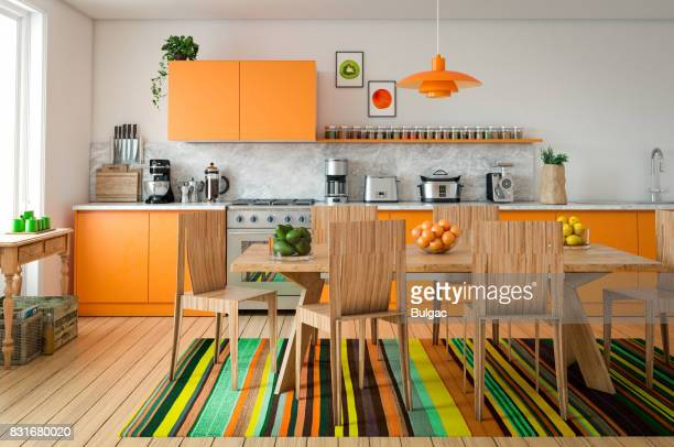 domestic kitchen interior - orange imagens e fotografias de stock