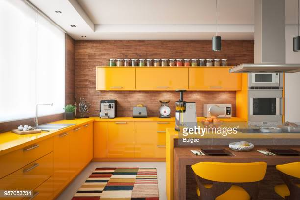 domestic kitchen interior - carpet decor stock photos and pictures