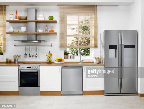 domestic kitchen - stage set stock pictures, royalty-free photos & images