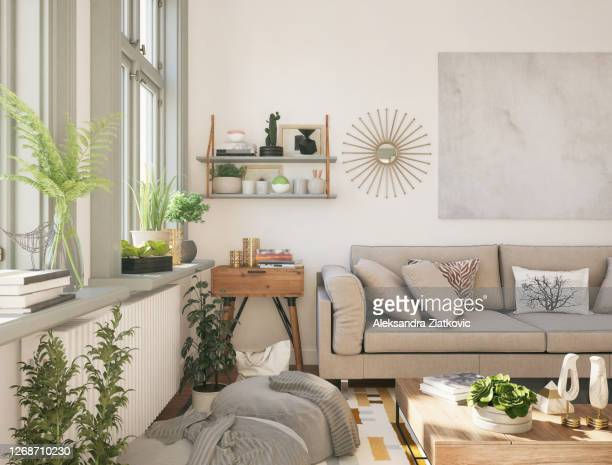 domestic living room with cozy sofa - history stock pictures, royalty-free photos & images