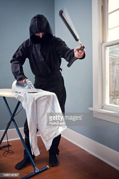 Domestic Ninja Ironing With Nunchaku