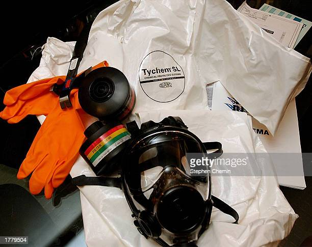 A domestic preparedness kit is shown February 12 2003 at the office of Quark Research Group in New York City The kits which include a NATO gas mask...