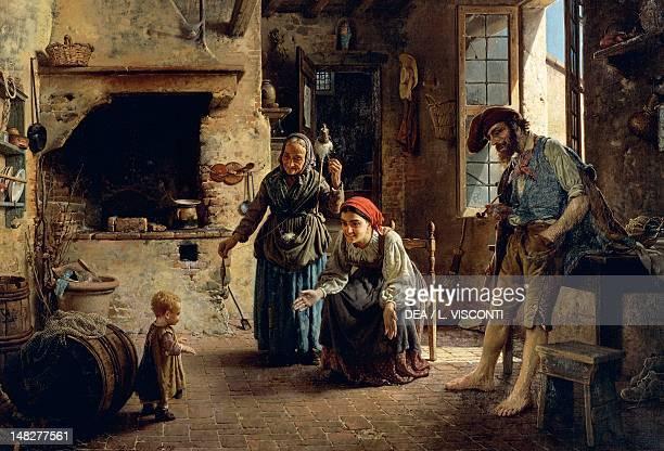 A domestic scene by Gaetano Chierici oil on canvas 70x100 cm Genoa Nervi Galleria D'Arte Moderna