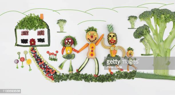 domestic scene made from vegetables - vegetable garden stock pictures, royalty-free photos & images