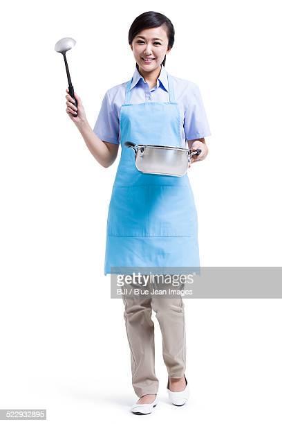 Domestic servant cooking
