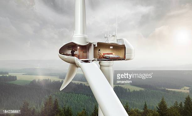 domestic situation inside wind turbine. - cross section stock pictures, royalty-free photos & images