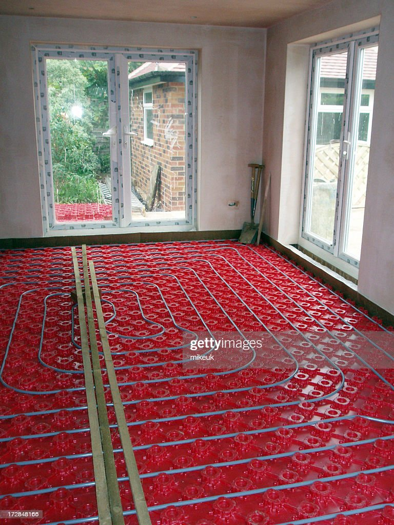 Domestic Underfloor Heating Construction Of Hot Water Pipes High