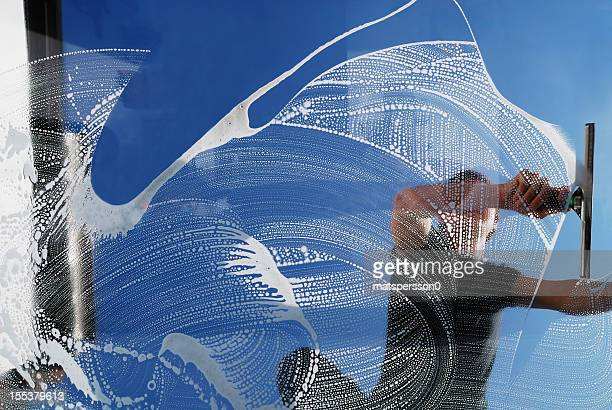 domestic window cleaner - window cleaning stock photos and pictures