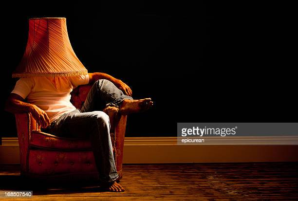 Domesticated man wearing lamp shade