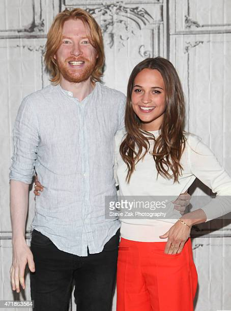 Domhnall Gleeson and Alicia Vikander discuss their film 'Ex Machina' at AOL Studios during the AOL BUILD Speaker Series on May 1, 2015 in New York...