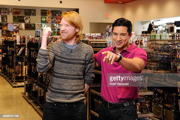 Domhnall Gleeson and Mario Lopez visit 'Extra' at Universal Studios Hollywood on April 15 2015 in Universal City California