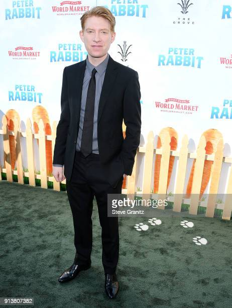 "Domhnall Gleeson arrives at the Premiere Of Columbia Pictures' ""Peter Rabbit"" at The Grove on February 3, 2018 in Los Angeles, California."